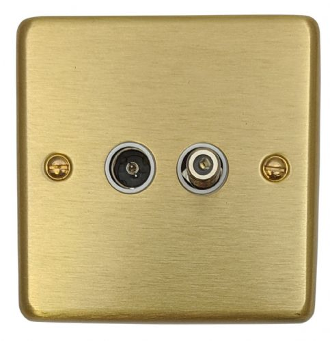 G&H CSB38W Standard Plate Satin Brushed Brass 1 Gang TV Coax & Satellite Socket Point